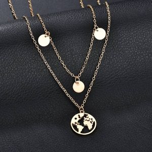 Fashion round sequined multi-layer pendant necklac